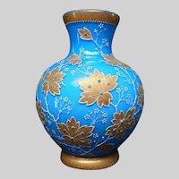 Vintage Cased Glass Coralene Vase Gold Over Blue