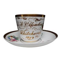 19th Century Victorian Dated 1872 Hand Painted Cabinet Cup and Saucer