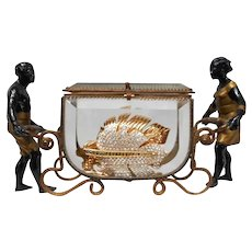 French Dore Bronze and Beveled Glass Casket