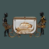 French Dore Bronze and Beveled Glass Jewelry Casket