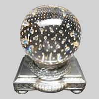 Controlled Bubble Pairpoint Paperweight Glass Globe Lamp