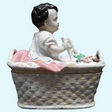 19th Century Porcelain Box Baby with Doll Lid