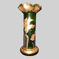 Hand Painted Gold Gild Iris Flowers Green Glass Vase