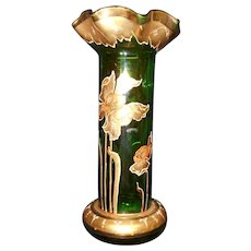 Hand Painted Gold Gild Iris Flowers Green Glass Vase