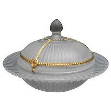 Luxury Frosted Ribbed Glass Dish With Ormolu Caged Lid
