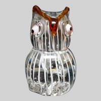 Large Murano Glass Controlled Bubble Paperweight Owl