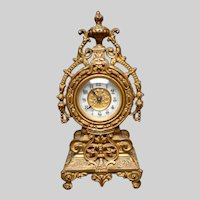 Late 19th Century Gilded Ornate Ormolu Small Clock