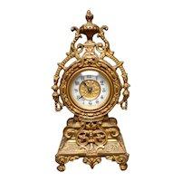 Late 19th Century Gilded Ornate Ormolu Small Clock