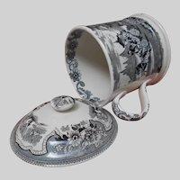 19th Century Black Aesthetic Transferware Tea Mug and Lid