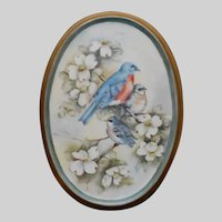 Hand Painted Bluebirds on Porcelain Wall Plaque
