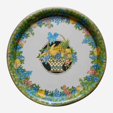 Vintage Lithographed Tin Tray Fruits in Basket Decor