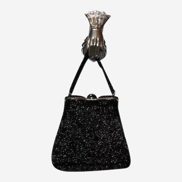 Black Midnight Beaded Purse Huge Rhinestones Beads Clasp