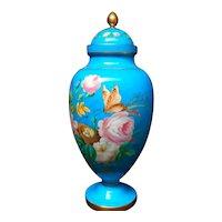 Huge Robin's Egg Blue Hand Painted Roses Lidded Vase