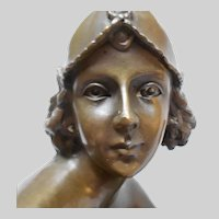 Large Brass Bronze  sculpture after Champagne Lady by J.E. Mir