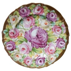 Circa 1900 Cowell & Hubbard Hand Painted Roses Cabinet Plate