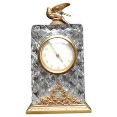 Early 20th Century Cabinet Clock Cubic Glass Ormolu with Dove Finial
