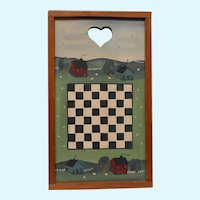 One of a Kind Hand Painted Country Art Checkerboard Farm Board
