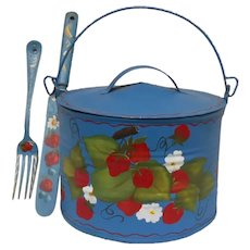 Vintage Hand Painted Strawberries Tin Lunch Pail Knife and Fork