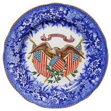 Wedgewood Patriotic American Eagle Crest Flow Blue Cabinet Plate