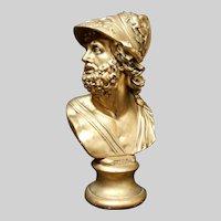 Huge Gold Leaf Gilded Plaster Bust of Zeus