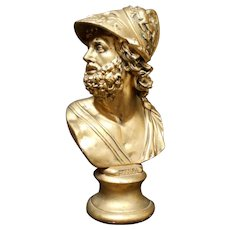 Huge Gold Leaf Gilded Plaster Bust of Zeus