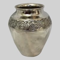 Large International Silver Co Silverplate Vase with Lining