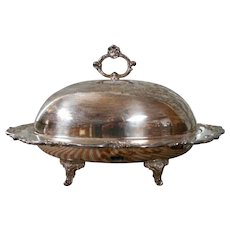 Eton Silver Large Silverplate Platter with Dome Lid for Turkey or Ham
