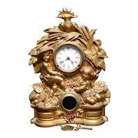 Huge Ornate Muller NY No 69 Key Wind Iron Front Mantel Shelf Clock