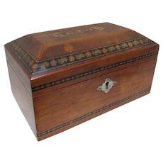 Tunbridge Ware Parquetry Inlaid Jewelry Sewing Box