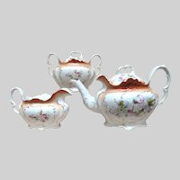 Furstenburg Brunswick Germany Porcelain Tea Pot, Cream and Sugar