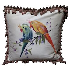 Artist Signed Hand Painted on Silk Pillow Cover I L Fiore Collection