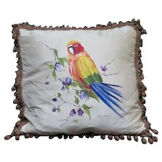 Artist Hand Painted Parrots on Silk Pillow Cover I L Fiore Collection