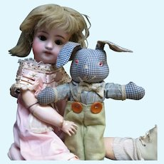 Dolly's Vintage Country Bunny in Gingham and Suspenders Attire