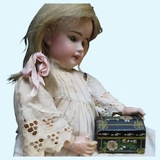 Miniature Dome Lid Hand Painted Doll Trunk Box