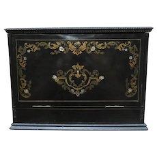 19th Century Ornate Inlaid Traveler's Desk