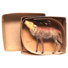 Circa 1940's Large Cast Metal Reindeer NRF Box