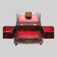 Early 1900's Nail Head Trim Sewing Box w Key Fold Out Drawers Pin Cushion