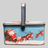 Vintage Tindeco Christmas Candy Tin Container Santa and Sleigh