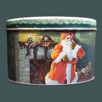 Vintage Christmas Candy Tin Bank Santa Claus and Reindeer