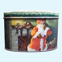 Vintage Christmas Candy Tin Bank Santa Claus and Reindeer