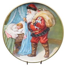 Early 1900's Christmas Santa Claus Tin Lithograph CD Kenny Plate