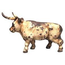 Long Horn Stock Market Bull Cast Iron Bank