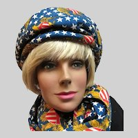 Vintage 1970's Patriotic Eagle Stars Stripes Beret and Scarf