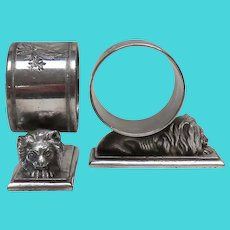 Antique Meriden Silverplate Pair of Lion Napkin Rings