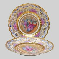 Elaborate Luxury Hand Painted Gilded Gold Plates