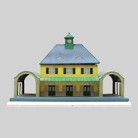 Large Lithographed Tin Metal Railroad Station Building