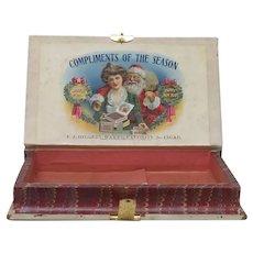 Original 1901 Christmas Cigar Box Santa Claus and Gibson Girl