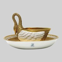 Carl Thieme Saxony Dresden Porcelain Gilded Swan Cup and Saucer
