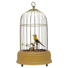 West Germany Automated Singing Bird In Birdcage