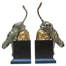 Stunning Leopard on Gilded Rock Bookends